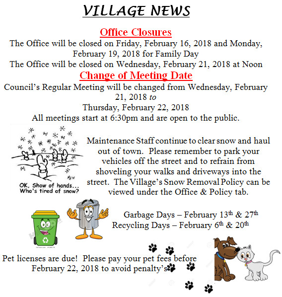 February Village of Leask News